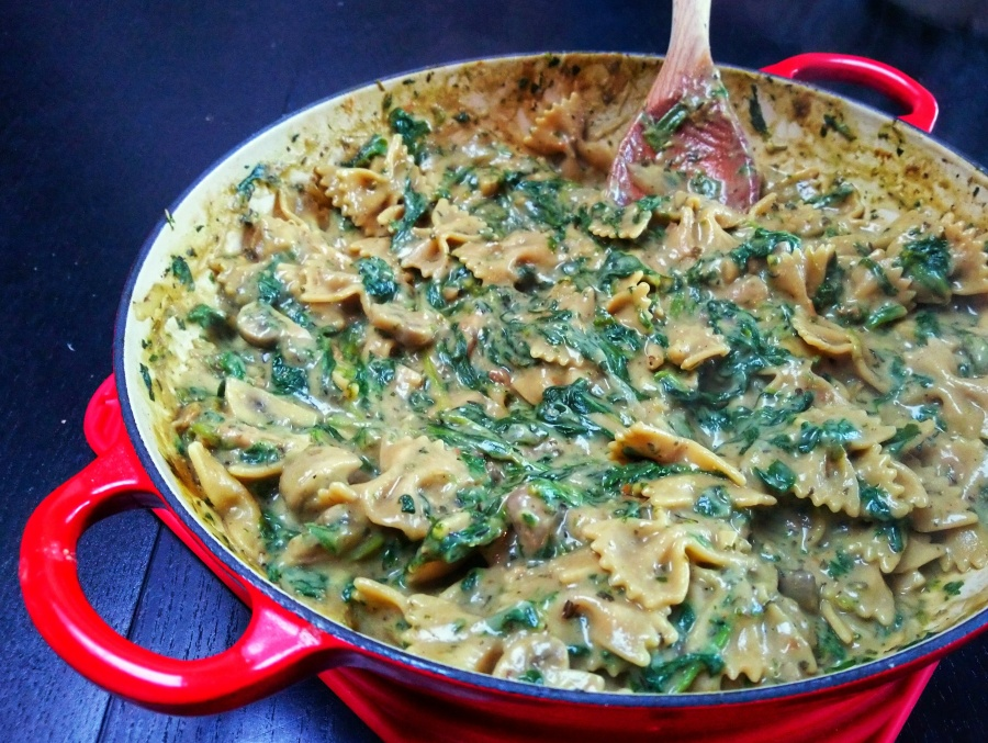 Romige pasta met spinazie enchampignons